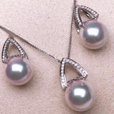 Pyramid Collection AAA+ White Akoya Pearl & Diamond Stud Earrings/Pendant Mounted on 18K White Gold