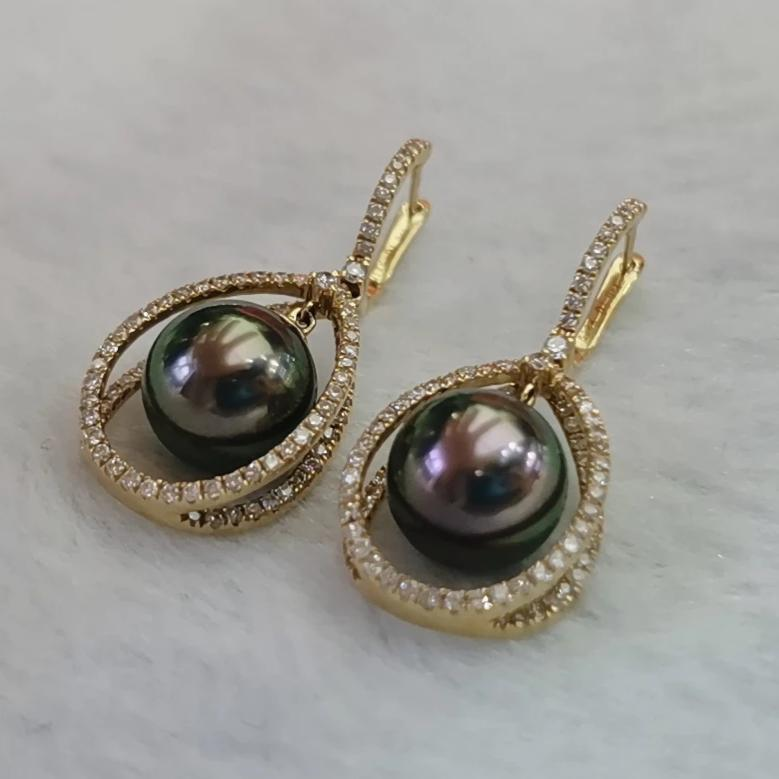 9.0-10.0 mm Tahitian Peacock Pearl & Diamond Dangle Earrings Mounted on 18K Gold for Woman - takaramonobr
