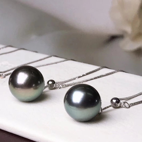 10.0-11.0 mm AAA Tahitian Black Pearl Pendant Mounted on Solid 18-Karat White Gold - takaramonobr
