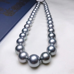 11.0-14.4 mm AAAA+ Tahitian Ocean Blue Pearl Necklace with 925 Silver Clasp - takaramonobr
