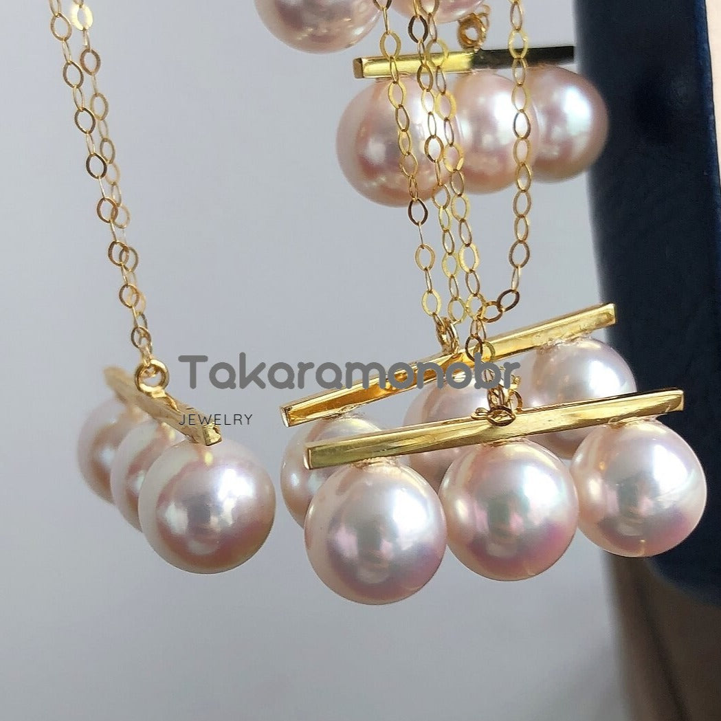 Multiple Pearls Series 8.0-8.5 mm White Akoya Pearl Pendant Mounted on Solid 18-Karat Yellow Gold - takaramonobr