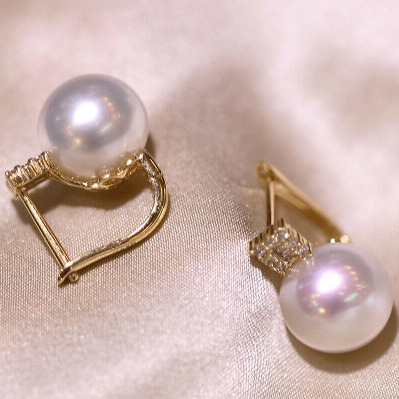 Princess Collection 10.0-11.0 mm White South Sea Pearl & Diamond Stud Earrings in 18K Yellow Gold - takaramonobr