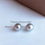 Load image into Gallery viewer, Japanese Silver-Blue Akoya Pearl Stud Earrings on Solid 18-Karat Gold - takaramonobr