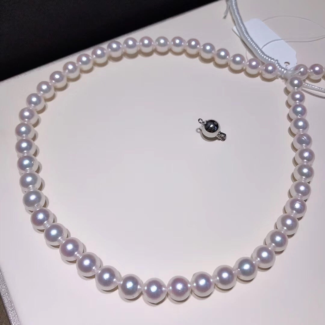 "8.5-9.0 mm AAA White Akoya Pearl Necklace 16"" for Woman - takaramonobr"