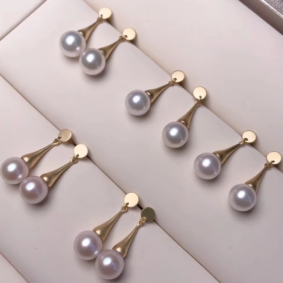 7.0-7.5 mm AAA+ White Akoya Round Pearl Dangle Earrings on Solid 18-Karat Yellow Gold - takaramonobr