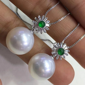 13.0-14.0 mm White South Sea Pearl | Australia White Pearl & Diamond/Jade/Sapphire Pendant Mounted on 18K Gold - takaramonobr
