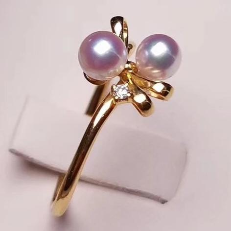 Bowknot Collection 4.0-4.5 mm Japanese Akoya Pearl and Diamond Ring in 18K Yellow Gold - takaramonobr
