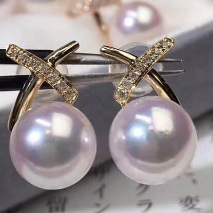 X Collection 8.5-9.0 mm Akoya Pearl & Diamond Stud  Earrings Mounted on 18K Yellow Gold - takaramonobr