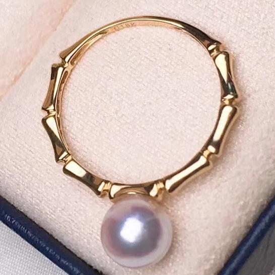 Bamboo Collection 7.0-7.5 mm White Akoya Pearl Solitaire Ring for Woman - takaramonobr