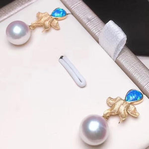 Octopus Collection 7.0-7.5 mm White Akoya Pearl & Opal Dangle Earrings - takaramonobr