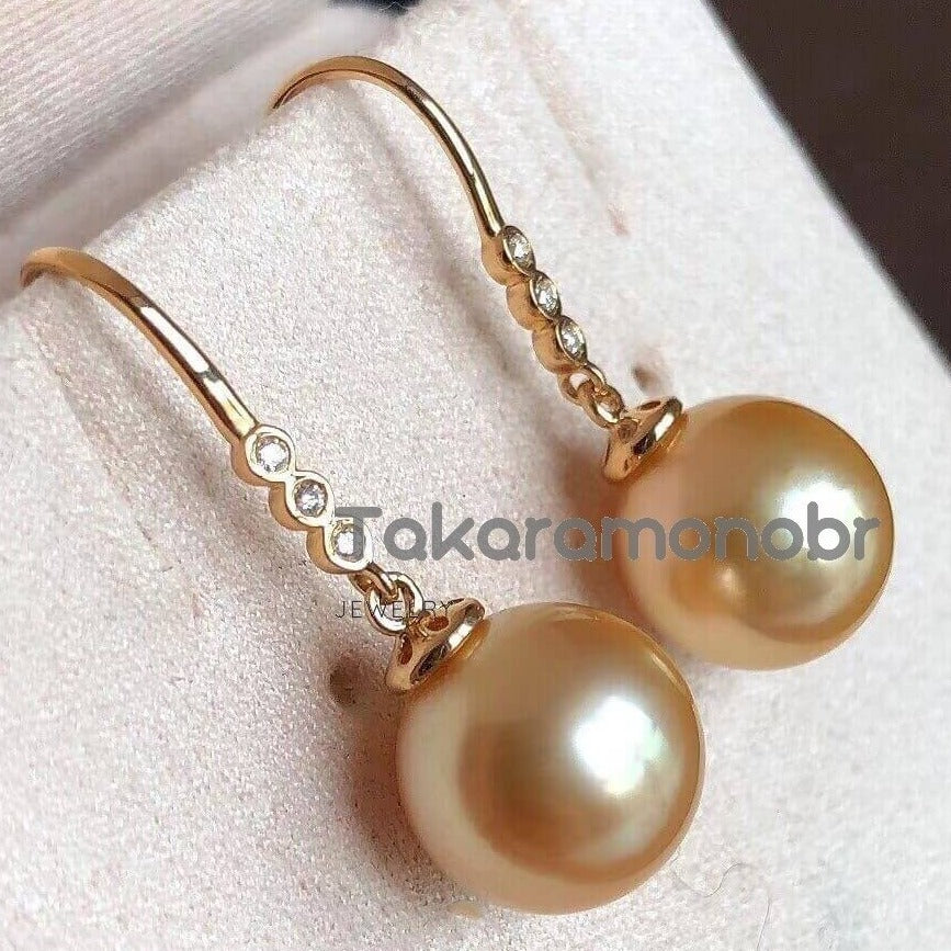 10.0-11.0 mm Golden South Sea Pearl & Diamond Dangle Earrings on Solid 18-Karat Gold - takaramonobr