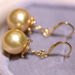 Load image into Gallery viewer, Skirt Collection 10.0-11.0 mm Golden South Sea Pearl & Diamond Dangle Earrings - takaramonobr