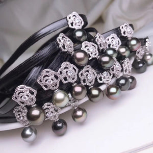 10.0-11.0 mm AA Tahitian Black Pearl Choker Necklace with PU Leather & Silver Flower - takaramonobr