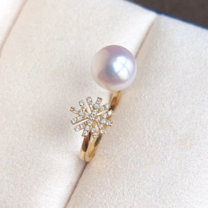 Snowflake  Collection White Akoya Pearl & Diamond Anniversary Ring in 18K Yellow Gold - takaramonobr