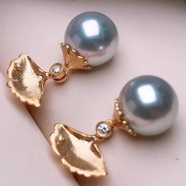 Ginkgo Leaf Collection 8.0-8.5 mm Blue Akoya Pearl & Diamond Dangle Earrings - takaramonobr
