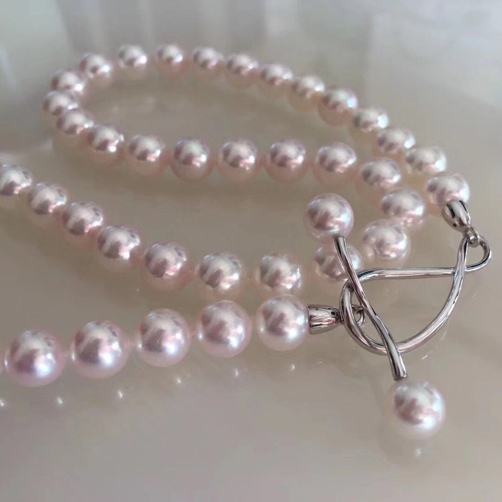 The Marvelous 16 Inches AAA+ Japanese White Akoya Pearl Necklace - takaramonobr