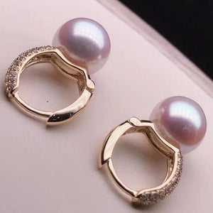 Eternal Collection Genuine White/Grey Akoya 8.5-9.0 mm Pearl & Diamond Dangle Earrings in 18K Gold - takaramonobr