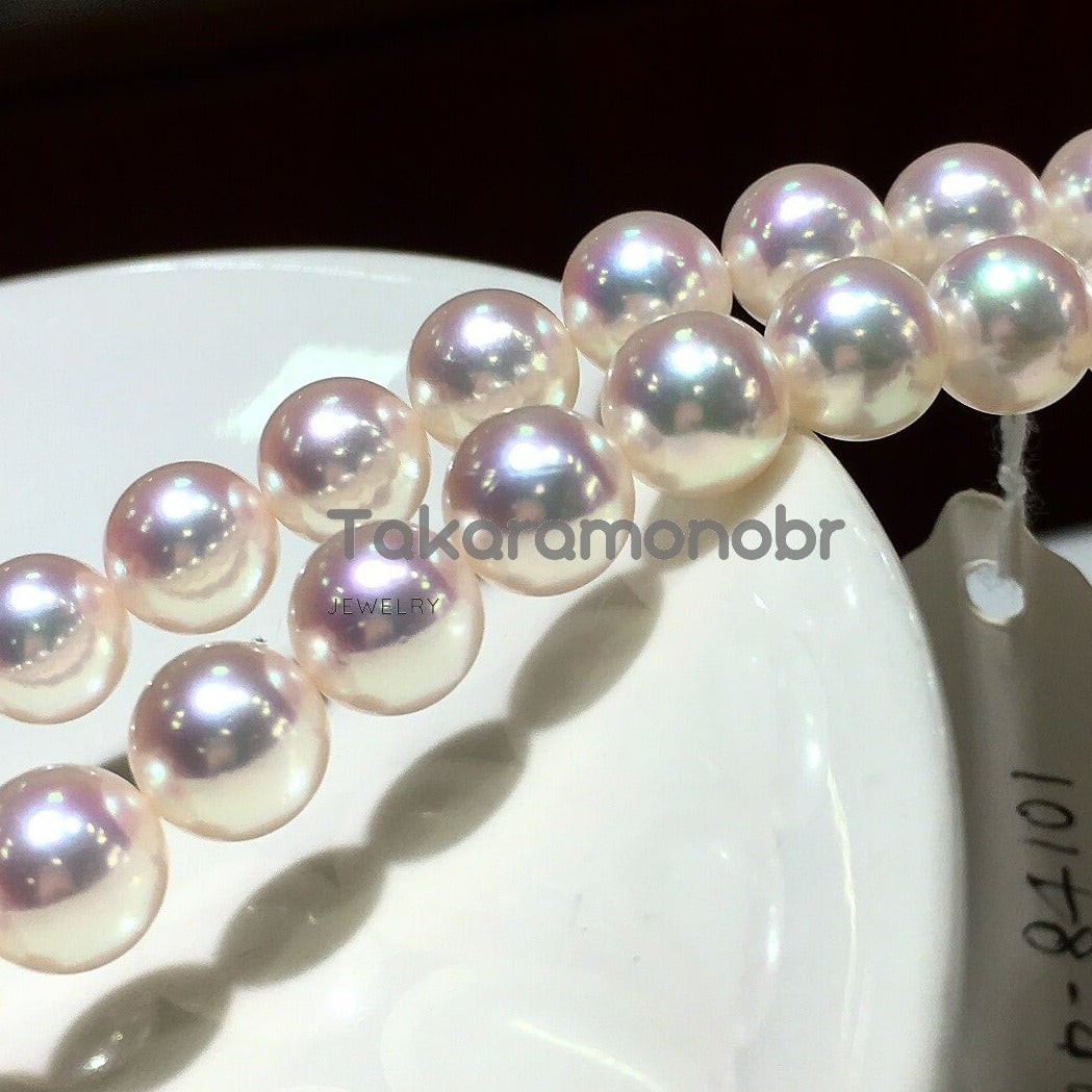 Top Gem Quality 8.0-8.5mm Aurora TEN-NYO(Aurora Hanadama) Pearl Necklace | Pearl Science Laboratory Appraisal Certificate - takaramonobr