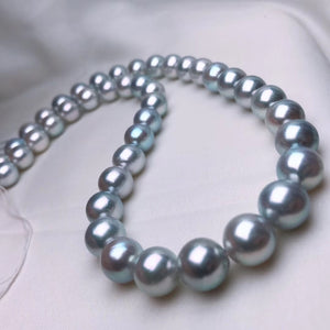 9.5-10.0 mm Natural-Color Japanese Blue Akoya Pearl Necklace for Jewelry Collection - takaramonobr