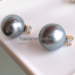 Princess Collection 10.0-11.0 mm Tahitian Silver Blue Pearl & Diamond Stud Earrings/Pendant in 18K Gold - takaramonobr