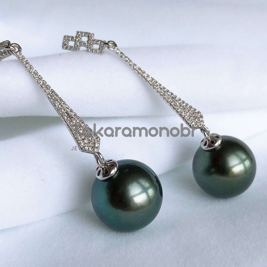 12.0-13.0 mm Tahitian Black Green Pearl & Diamond Earrings in G18k for Women - takaramonobr