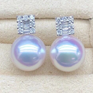 TEN-NYO Luster Princess Collection 8.0-8.5 mm Japanese Akoya Pearl & Diamond Stud Earrings in 18K White Gold - takaramonobr