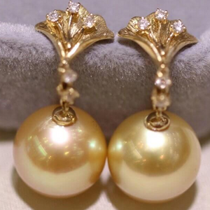 Ginkgo Leaf Collection10.0-11.0 mm Golden South Sea Pearl & Diamond Earrings - takaramonobr