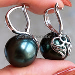 Load image into Gallery viewer, 12.0-13.0 mm Tahitian Black Pearl Earrings Mounted on Solid 18-Karat Yellow/White Gold - takaramonobr