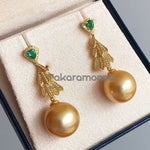 Load image into Gallery viewer, Luxury Collection 13.0-14.0 mm Golden South Sea Pearl & Emerald Diamond Earrings - takaramonobr