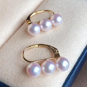 Multiple Pearls Series 5.0-5.5 mm Silver-Blue/White Akoya Pearl Earrings Mounted on 18K Solid Gold - takaramonobr