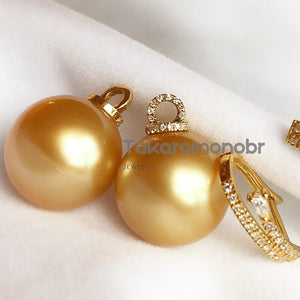 Bucket Collection 13.0-14.0 mm Golden South Sea Pearl & Diamond Earrings in 18K Gold - takaramonobr
