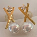 Load image into Gallery viewer, X Collection 7.5-8.0 mm Akoya Pearl & Diamond Stud Earrings Mounted on 18K Yellow Gold - takaramonobr