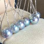 Load image into Gallery viewer, Silver-Blue Akoya Pearl Pendant With Solid 18-Karat White Gold Chain - takaramonobr