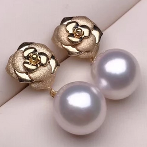 Rose Collection 8.5-9.0 mm White Akoya Pearl Dangle Earrings Mounted on 18K Gold for Women - takaramonobr