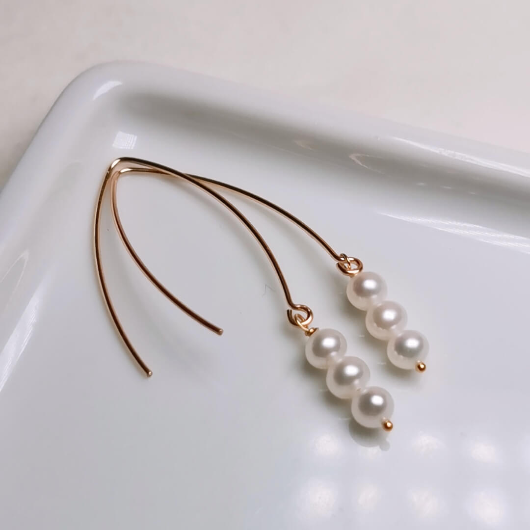 Natural Freshwater Cultured Pearl Dangle Earrings Handmade Jewelry for Women - takaramonobr