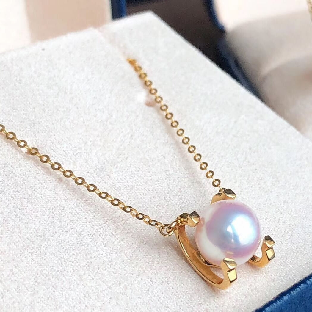 8.0-8.5 mm White Akoya Pearl Pendant Mounted on Solid 18-Karat Yellow/Rose Gold - takaramonobr