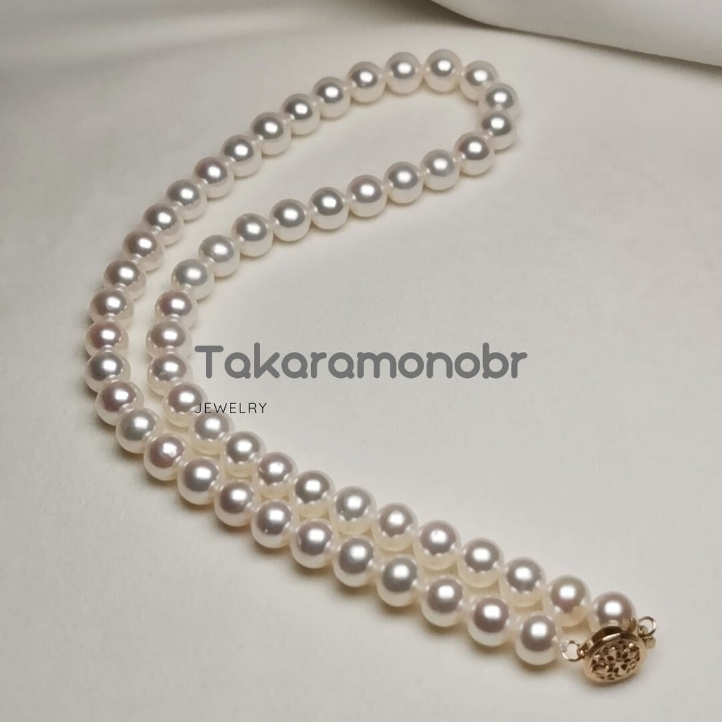 "7.0-8.0 mm 16"" White Freshadama Freshwater Pearl Necklace - takaramonobr"