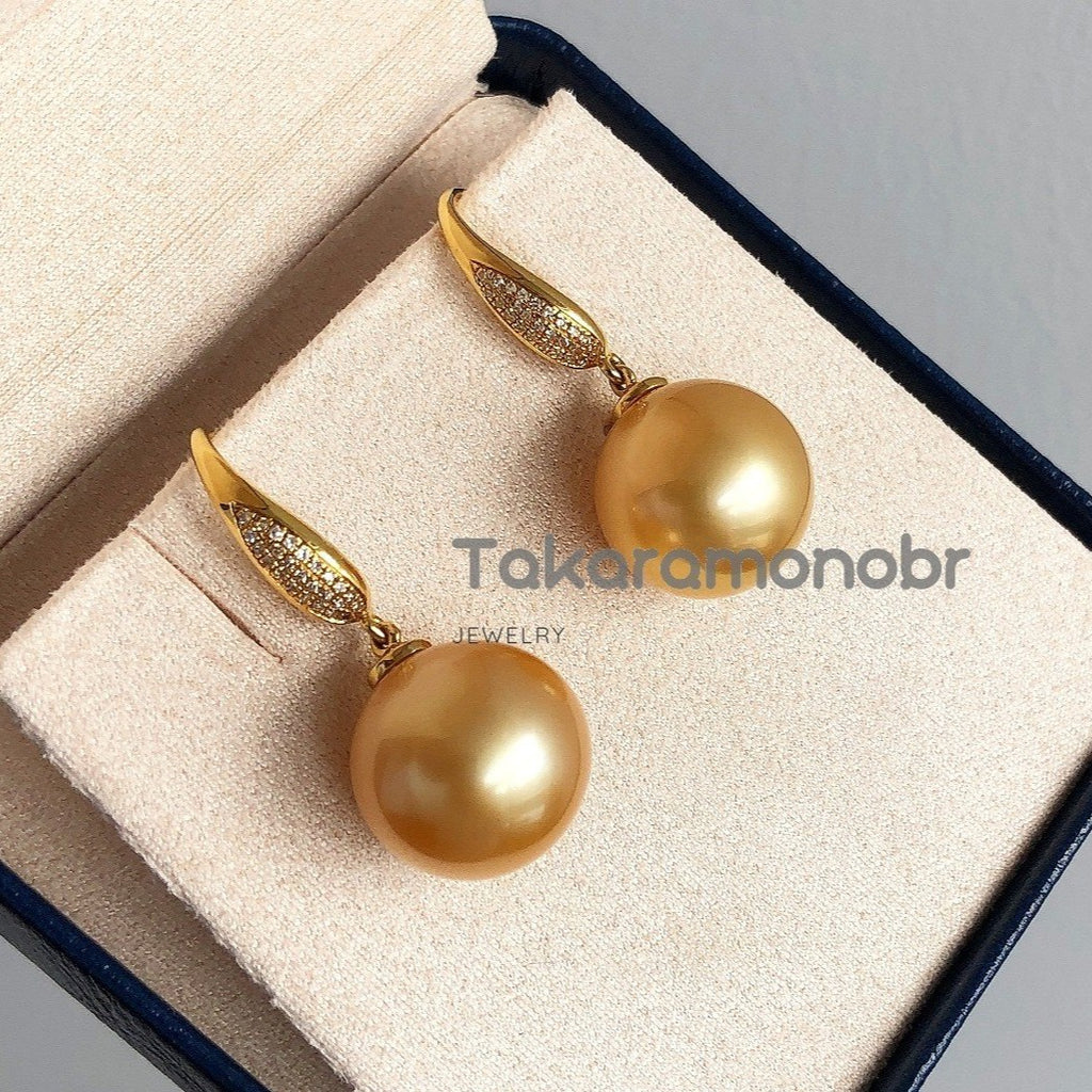 13.0-14.0 mm Golden South Sea Pearl & Diamond Earrings in 18K Gold for Women - takaramonobr