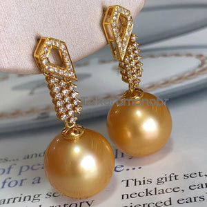 Luxury Collection 13.0-14.0 mm Golden South Sea Pearl & Diamond Earrings for Women - takaramonobr