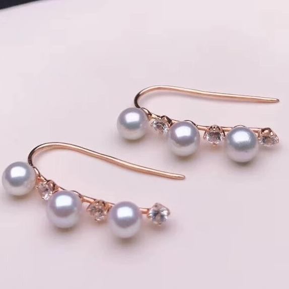 Multiple Pearls Series 4.0-4.5 mm Mini Grey Akoya Pearl & White Corundum in 18K Yellow Gold for Woman - takaramonobr