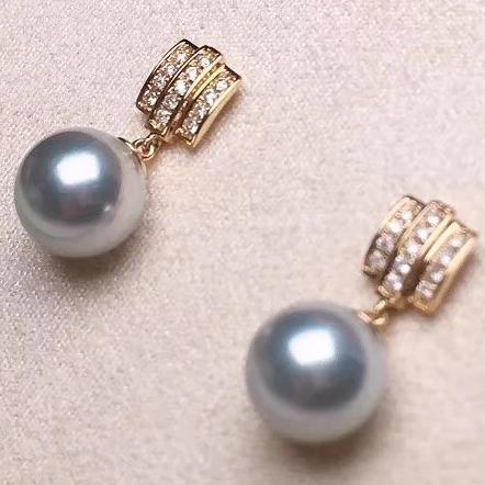 Enchant Collection 8.0-8.5 mm Blue Akoya Pearl & Diamond Dangle Earrings - takaramonobr