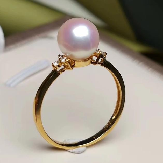 Prim Collection 7.5-8.0 mm Japanese White Akoya Pearl & Diamond Ring - takaramonobr