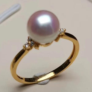 Prim Collection 7.5-8.0 mm Japanese White Akoya Pearl and Diamond Ring - takaramonobr