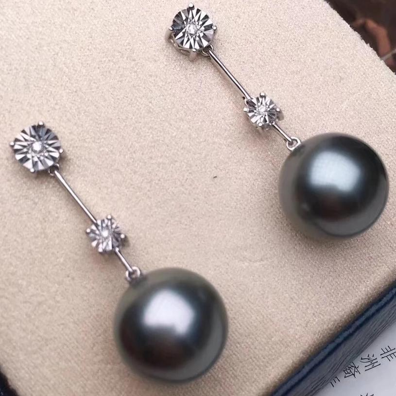 12.0-13.0 mm AAA Silver Grey Tahitian Pearl & Diamond Dangle Earrings - takaramonobr