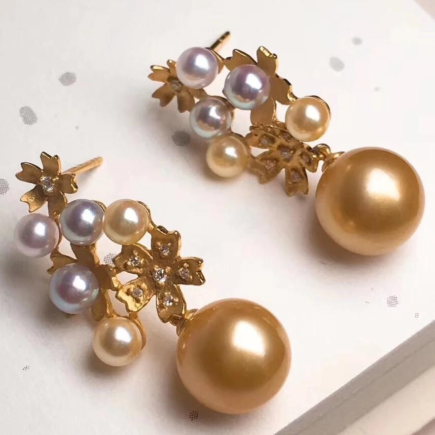 Multiple Pearls Series 10.0-11.0 mm Golden South Sea Pearl and Diamond Earrings - takaramonobr
