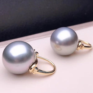 13.0-14.0 mm AAA+ Golden South Sea Pearl Stud Earrings Mounted on Solid 18-Karat Yellow Gold - takaramonobr