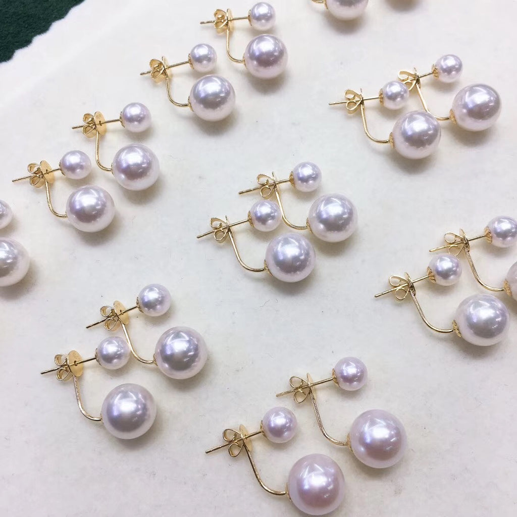 Double Pearls Series 8.5-9.0 mm White Akoya Pearl Stud Earrings in 18K Gold - takaramonobr