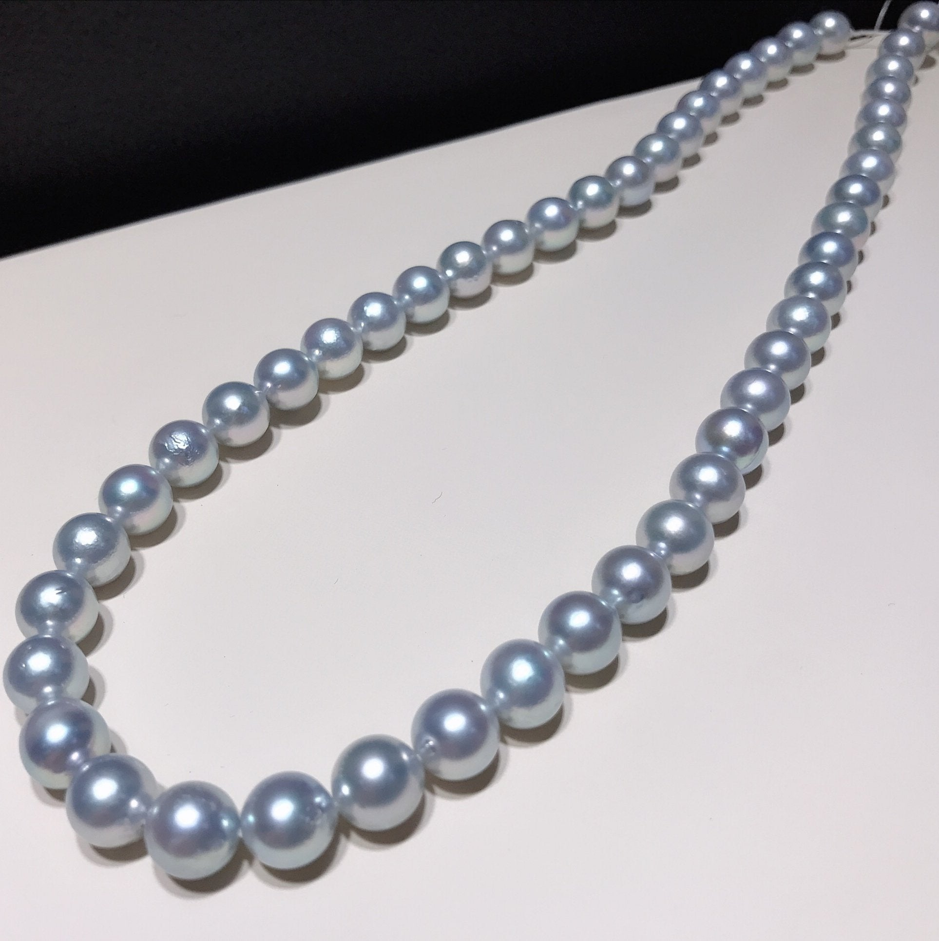 "8.5-9.0 mm Silver Grey Akoya Pearl Necklace 16"" for Woman - takaramonobr"
