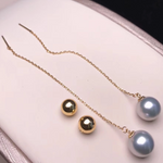 Load image into Gallery viewer, String Collection 8.0-8.5 mm Silver Blue Akoya Pearl Dangle Earrings Mounted on 18K Gold for Woman - takaramonobr