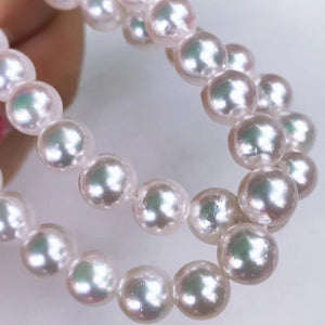 "7.5-8.0 mm AAA Double Strand White Akoya Pearl Bracelet 16"" for Woman - takaramonobr"